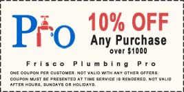coupon 10% discount on frisco plumber purchase over $1000