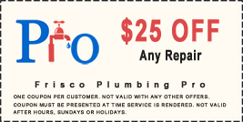 coupon $25 off frisco plumber service call