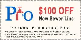 $100 off new plumbing sewer line coupon