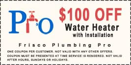 $100 off frisco water heater with installation coupon